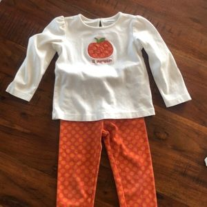 Pumpkin Gymboree Set -4- Shirt/Leggings/Jacket
